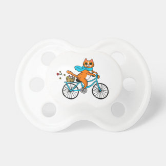 Cat riding a bicycle pacifier