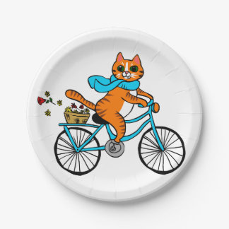 Cat riding a bicycle paper plate