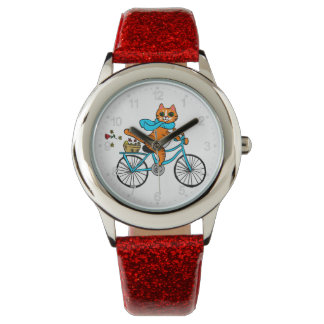 Cat riding a bicycle watch