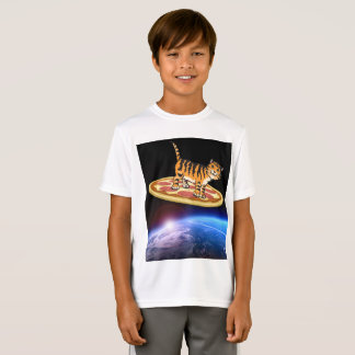 CAT RIDING A PIZZA IN SPACE funny kids T-shirts