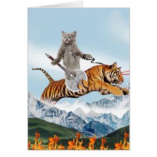 Cat Riding A Tiger Card