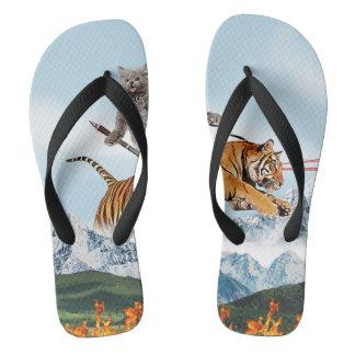 Cat Riding A Tiger Flip Flops