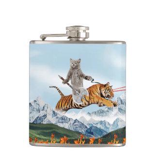 Cat Riding A Tiger Hip Flask