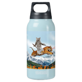 Cat Riding A Tiger Insulated Water Bottle