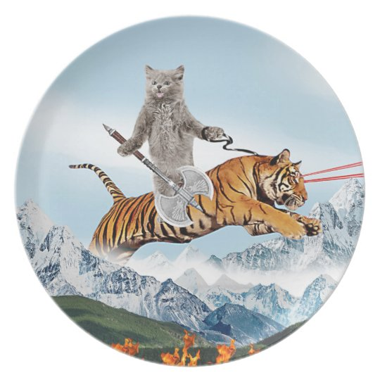 Cat Riding A Tiger Plate