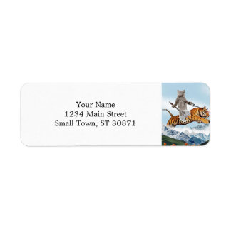 Cat Riding A Tiger Return Address Label