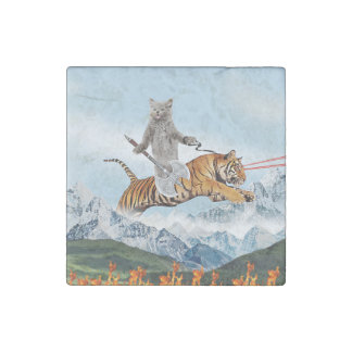Cat Riding A Tiger Stone Magnets
