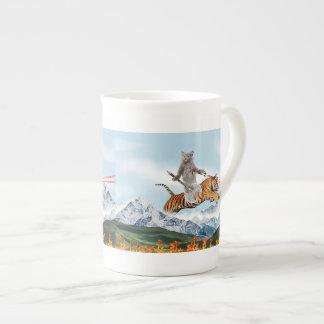 Cat Riding A Tiger Tea Cup