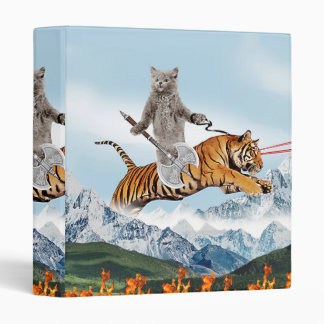 Cat Riding A Tiger Vinyl Binder