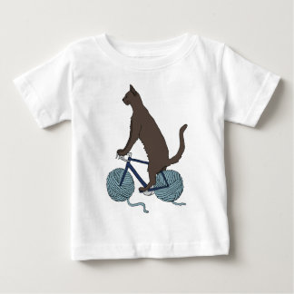 Cat Riding Bike With Yarn Ball Wheels Baby T-Shirt
