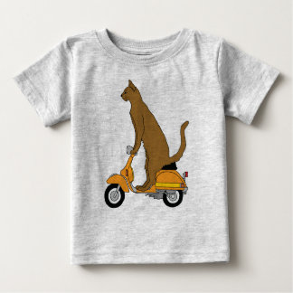 Cat Riding Motor Scooter Baby T-Shirt