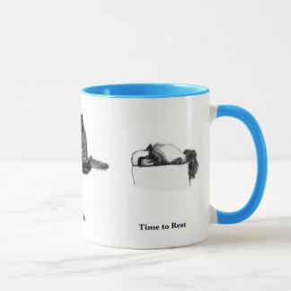 Cat Ringer Mug—Time to Rest, Eat, Dream Mug