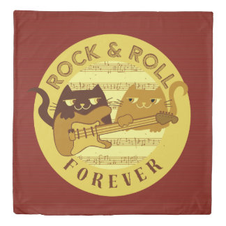 Cat Rock Music Electric Guitar Golden Stripes Chic Duvet Cover