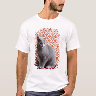 Cat (Russian blue) and wallpaper background T-Shirt