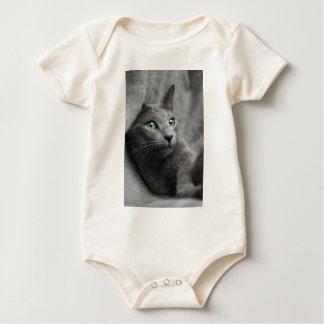Cat Russian Blue Look Eyes Gray Pet Baby Bodysuit