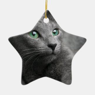 Cat Russian Blue Look Eyes Gray Pet Ceramic Ornament