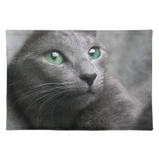 Cat Russian Blue Look Eyes Gray Pet Placemat