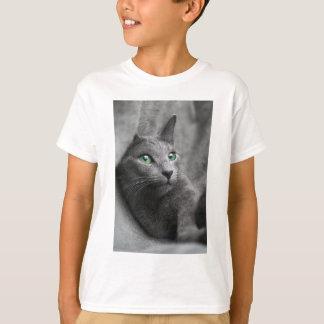 Cat Russian Blue Look Eyes Gray Pet T-Shirt