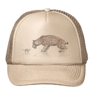 Cat Sabretooth Reflection Staring At Each Other Trucker Hat