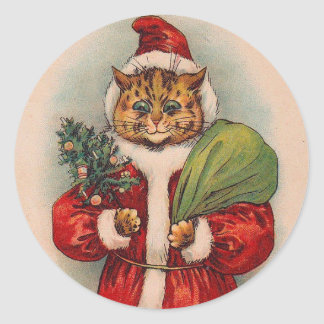Cat Santa by Louis Wain Classic Round Sticker
