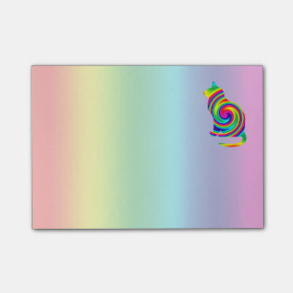Cat Shaped Rainbow Twirl Post-it® Notes