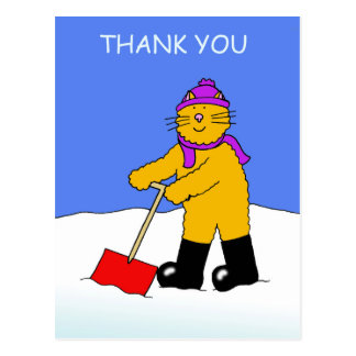 Cat shovelling snow, thanks for clearing snow. postcard