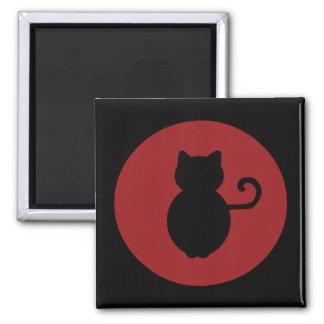 Cat Signal Silhouette Square Magnet