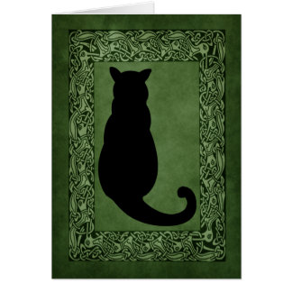 Cat Silhouette Celtic Green Card