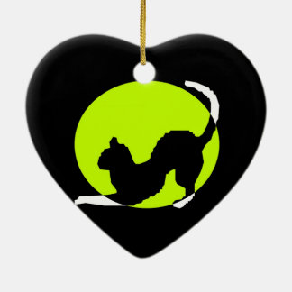 Cat Silhouette Ceramic Heart Ornament