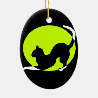 Cat Silhouette Ceramic Oval Ornament
