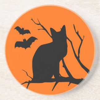 Cat Silhouette Halloween Coaster