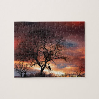 Cat Silhouette in Tree at Sunset Jigsaw Puzzle