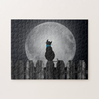 cat silhouette on fence jigsaw puzzle