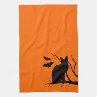 Cat Silhouette Orange Halloween Kitchen Towel
