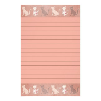 Cat Silhouette Pattern on Brown Lined Stationery
