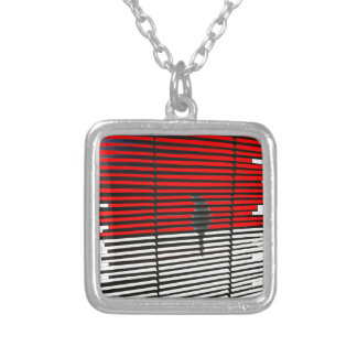 Cat Silhouette - Red Silver Plated Necklace