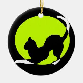 Cat Silhouette Round Ceramic Ornament