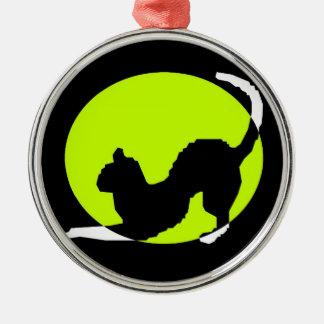Cat Silhouette Silver-Colored Round Ornament