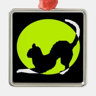 Cat Silhouette Silver-Colored Square Ornament