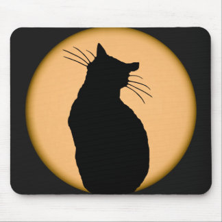 Cat Silhouetted Against the Moon Mousepad