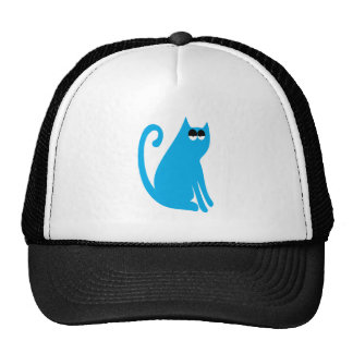 Cat Sit And Look Back Blue Hi Eyes Mesh Hat