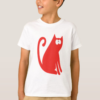 Cat Sit And Look Back Red Wtf Eyes T-Shirt
