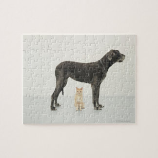 Cat sitting beneath Great Dane Jigsaw Puzzle