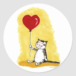 Cat Sitting with Balloon Round Sticker