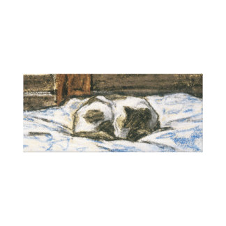 Cat Sleeping on a Bed by Claude Monet Gallery Wrap Canvas