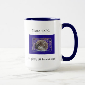 Cat Sleeping Ps 127:2 Mug