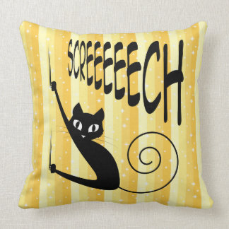 Cat Sliding Down the Wall on Screeching Claws Throw Pillow