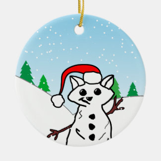 Cat Snowman Ceramic Ornament