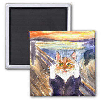 Cat spoof magnet, Edvard Munch's The Scream Magnet