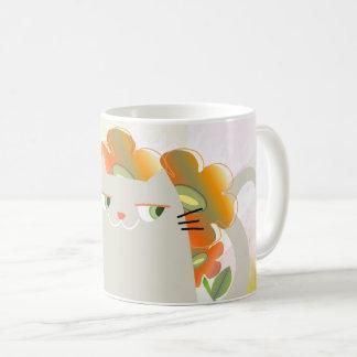 Cat Spring Floral Orange Blooming Chic Watercolor Coffee Mug
